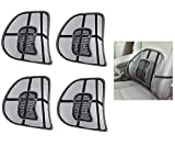 Lukzer 4 PC Ventilation Back Rest with Lumbar Support Mesh Cushion Pad