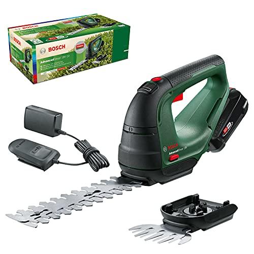 Bosch cortacésped/cortasetos a batería AdvancedShear 18V-10, 1 batería de 2,0 Ah, sistema de 18V, cortan hasta 85 m² por cada ciclo de batería, con cuchillas cortacésped y cortasetos, en caja