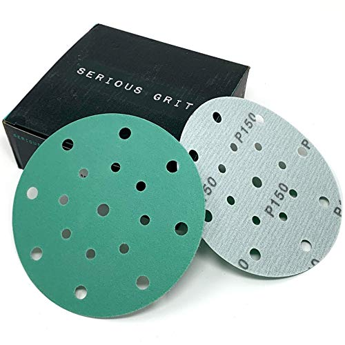 Serious Grit 6-Inch 17-Hole, 150 Grit Sanding Discs - Premium Hook and Loop Heavy Duty Sandpaper for Random Orbital Sanders - 50 PACK BOX