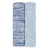 aden + anais Swaddle Blanket, Boutique Muslin Blankets for Girls & Boys, Baby Receiving Swaddles, Ideal Newborn & Infant Swaddling Set, Perfect Shower Gifts, 2 Pack, Blue Geo