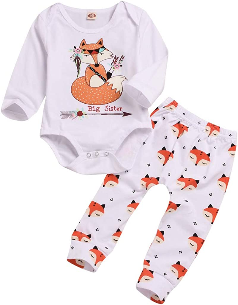 2PCS Newborn Infant Baby Girls Long Sleeve Tops Romper Pants Outfits Set Clothes