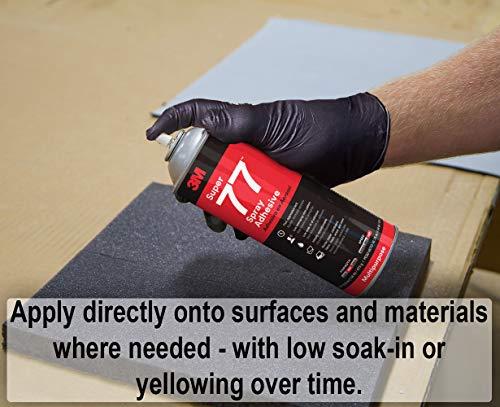 3M Super 77 Multipurpose Permanent Spray Adhesive Glue, Paper, Cardboard, Fabric, Plastic, Metal, Wood, Net Wt 16.75 oz