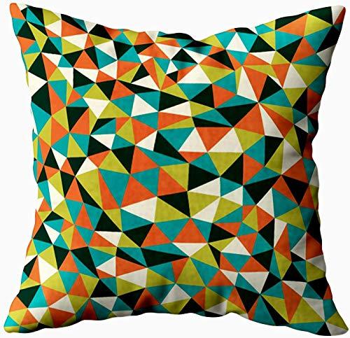 Funda de almohada artística, textura con diseño de mosaico de triángulos, 20 x 20 cm, fundas de almohada para decoración del hogar, fundas de almohada con cremallera para sofá