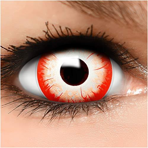 Farbige Maxi Sclera Kontaktlinsen Night Zombie - inkl. Behälter - Top Linsenfinder Markenqualität, 1Paar (2 Stück)
