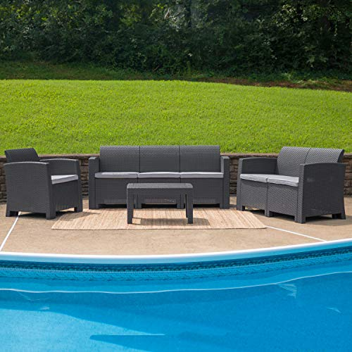 Flash Furniture 4 Piece Outdoor Faux Rattan Chair, Loveseat, Sofa and Table Set in Dark Gray