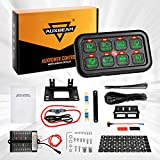 Auxbeam 8 Gang Switch Panel Automatic Dimmable LED On-Off Car Switch Panel Electronic Relay System LED Car Touch Switch Box Universal for Truck ATV UTV Boat Marine SUV Car -Green Backlit