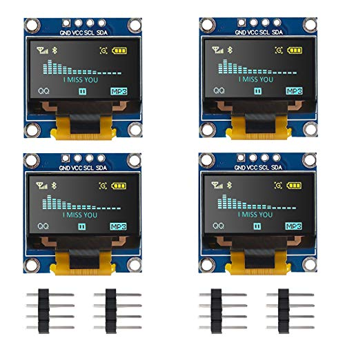 Seamuing Módulo de pantalla OLED I2C IIC 128 x 64 0.96 pulgadas módulo de pantalla con pines para Arduino UNO R3 STM (4 piezas)