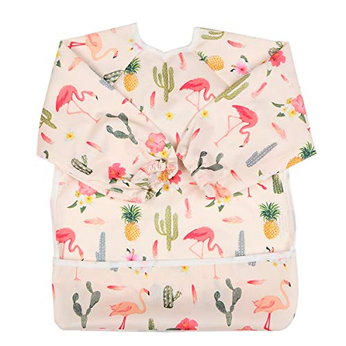 Sigzagor Baby Bib Sleeved Shirt With Pocket 1-3 years old Toddler Painting For Girls (Flamingo Cactus), 15.3inx12.6in