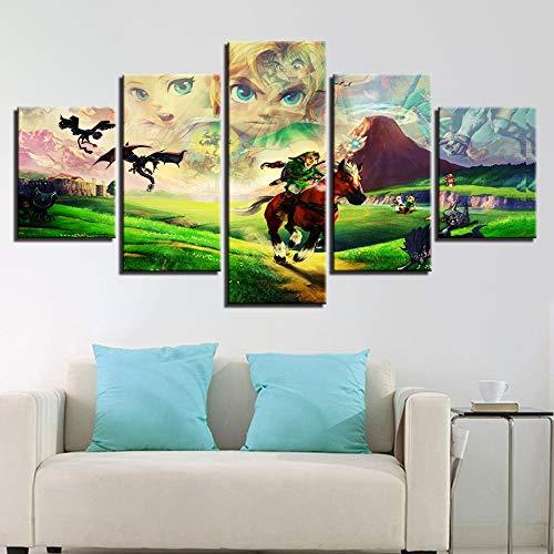 Modulaire Schilderij HD Prints Canvas Nachtkastje Achtergrond Home Decor 5 Stuks Muur Art Legende Van Zelda Foto's Artwork Game Posters