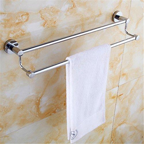 MBYW moderne hoge dragende handdoek rek badkamer handdoekenrek Opslag plank 30-120 cm handdoekenrek roestvrij staal handdoek rek dubbele handdoek rek roestvrij staal dubbele staaf verdikte met haak (C568)