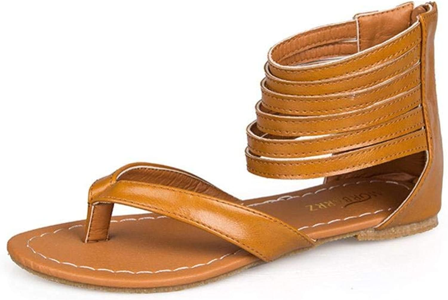 GouuoHi Womens Sandals Women's Zip Rome Strappy Gladiator Low Flat Flip Flops Beach Sandals shoes Fashion Leisure Elegant Cosy Wild Tight Super Quality for Womens