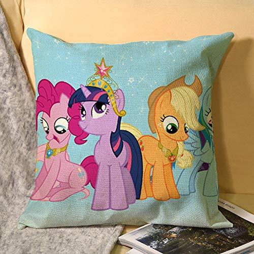 My Little Pony Friendship is Magic - Fundas de almohada de lino para decoración del hogar (45,7 x 45,7 cm), diseño cuadrado