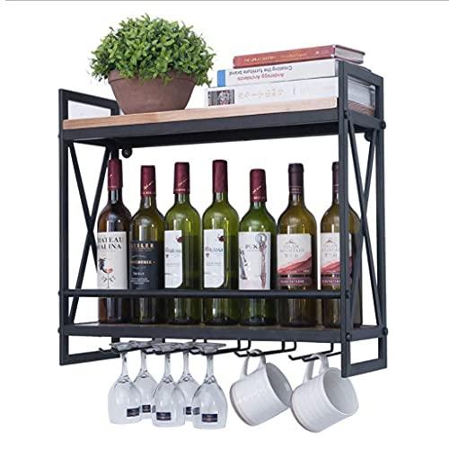 LWF Botelleros Vino Montados En La Pared 2 Niveles Sostienen 10 Copa De Vino Porta Botella de Vino Madera Metal Estante De Vino Multifunción para Cocina Bar Casa