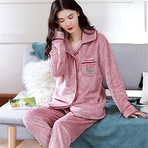 Weiche Damen Pyjamas, Dicke Bademäntel aus Korallenvlies, warme Hauskleidung für Herbst und Winter Größen A27 XXL