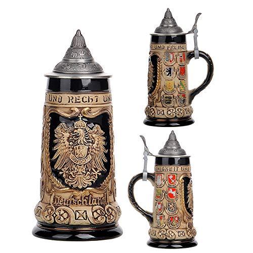 0.85Litros Jarra de Cerveza Alemana Escudo de Alemania Deutschland German Beer Stein Mug Regalos Souvenirs Gift Box Decoración de Decoración de Bar. Regalo del padre