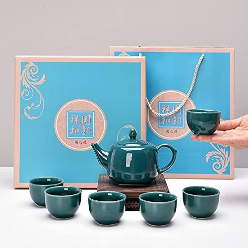 Juego de té de cerámica Kung Fu, juego de té de viaje portátil, juego de té japonés, adecuado para viajes, hogar, al aire libre y oficina, C