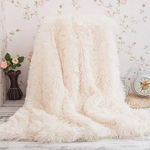 TIDWIACE Weiß Kuscheldecke Longhair Fell Optik 160 x 200 Sofa Decke Microfaser Kunstfell TV-Decke Tages Klimaanlage Decke