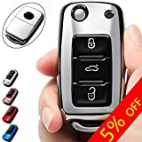 COMPONALL for VW Key Fob Cover, Compatible for VW Beetle Passat Tiguan Touran Jetta MK1-MK6 Golf GTI/Rabbit/R/MK6/MK5 Premium Soft TPU Full Protection 3-Buttons Key Fob Shell, Silver