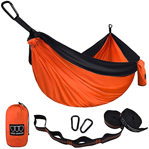 Gold Armour Camping Hammock - USA Brand Single Parachute Hammock (2 Tree Straps 10 Loops/20 ft Included) Lightweight Nylon Portable Adult Kids Best Accessories Gear (Orange and Black)