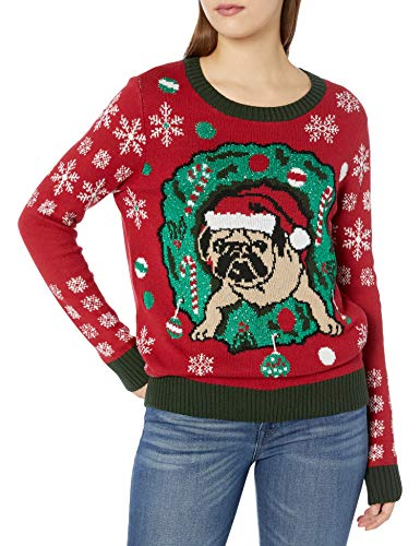 Ugly Christmas Sweater Company womensAssorted Pullover Xmas Sweaters Long Sleeves Pullover Sweater red X Large