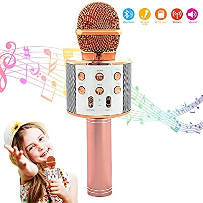 Wireless Bluetooth Karaoke Microphone Machine,Portable Handheld Karaoke Bluetooth Handheld Karaoke Speaker Player Machine for Kids Adults Girl Boy Home KTV Party for Android/Iphone/Ipad/Pc (Rose Gold)