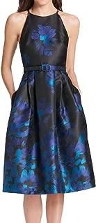 Women's Dress Black A-Line Floral Belted