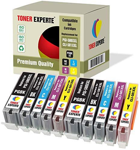 Kit 10 XL TONER EXPERTE® PGI-580XXL CLI-581XXL PGI-580 CLI-581 XXL Cartucce d'inchiostro compatibili per Canon Pixma TS6150 TS6151 TS6250 TS705 TR7550 TS8150 TS8151 TS8152 TS8250 TR8550 TS9150 TS9155