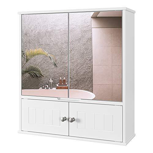 HOMECHO Spiegelschrank Badschrank mit Spiegel Bad Hängeschrank mit Ablage Schminkschrank aus Holz Badspiegelschrank Wandschrank in Weiß 60 x 54.5 x 17.5 cm