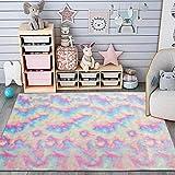 Maxsoft Furry Kids Rainbow Rugs, Colorful Area Rug for Girls Bedroom, Nursery, Play Room, Fuzzy Carpet for Living Room, Home Decor (4x5.9 Feet)