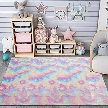 Maxsoft Furry Kids Rainbow Rugs Colorful Area Rug for Girls Bedroom Nursery Play Room Fuzzy Carpet for Living Room Kids Room Cute  3x5 Feet