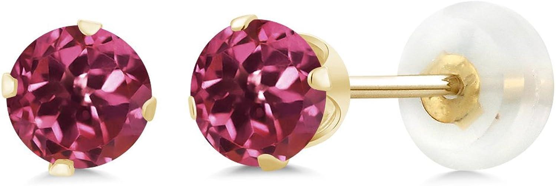 1.00 Ct Round 5mm Pink Tourmaline 10K Yellow gold Stud Earrings