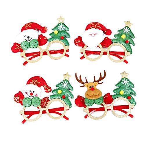 NUOBESTY 4 gafas de Navidad interesantes divertidas para fiestas, accesorios para festivales, fiestas y vacaciones