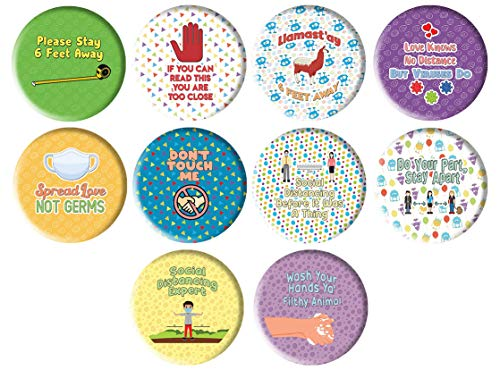 Creanoso Funny Social Distancing Pinbuttons - Large 2.25' Pins Stocking Stuffers Premium Quality Gift Ideas for Children, Teens, & Adults - Corporate Giveaways & Party Favors