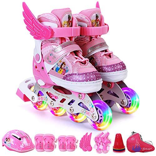 QMMD Inline-Skates Anfänger, Einstellbar, Leucht Inline Skates Rollschuhe Kinder, Mit Leucht PU RäDer, Verschleißfest Komfortable Rollschuhe,B2,M(11.5‐13UK/30‐33EU)