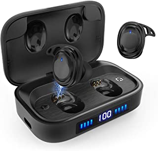 True Wireless Earbuds Bluetooth 5.0 Headphones, IPX7 Waterproof Touch Control Earbuds, 75 Hours Playtime with 2000 mAh LED Display Charging Case[As Power Bank], HD Stereo Built-in Mic in-Ear Earphones