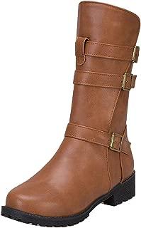 ELEEMEE Women Block Heel Engineer Boots Zip
