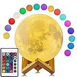 Lámpara Luna 3D, Salandens 16 Colores LED Luz Luna, 8cm Lampara Luna Nocturna Control Remoto & Táctil, Cargador USB Lámpara de Ambiente para Regalo de Fiesta