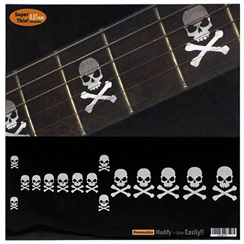 potente para casa Pegatinas de diapasón de guitarra y bajo con incrustaciones, diseño de calavera …