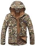 UDRES Men's Fleece Liner Outerwear Hooded Water Resistant Softshell Tactical Jacket (Large, Multicam)