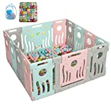 KingSo Baby Playpen, Multi Color Foldable Play Yard Kids Baby Safety Activity Center with External Lock Gate Portable Design for Home Indoor, 14 Panels