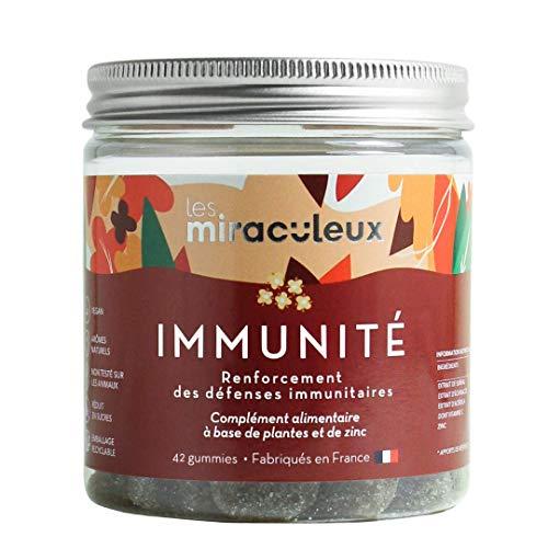 Complément Alimentaire Immunité - Gummies Immunité - Arôme Naturel et Végan - 42 Gommes de Fruit - Zinc Complement Alimentaire - Goût Fleur de Sureau - Les Miraculeux