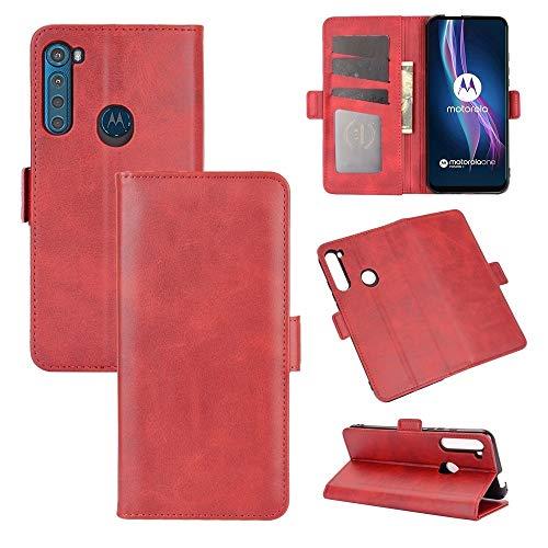 SHUFEIVICC For Lado Dual Motorola Una Fusion + Flip Funda de Cuero de la Hebilla magnética Horizontal con el sostenedor y Ranuras for Tarjetas y Monedero (Color : Red)