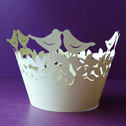 12Pcs Pearly Paper Love Bird Design Vine Lace Cup Cake Wrappers Table Deco