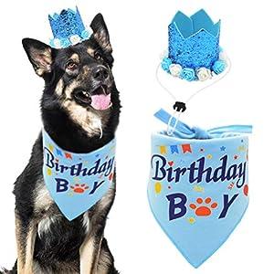 Dog Birthday Bandana Boy Scarf and Crown Dog Birthday Hat, Flower Headwear for Medium to Large Dogs