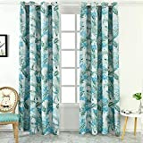 Green Floral Room Darkening Curtain 98 inch Long Single Panel - Tropical Botanical Blackout Drapes Grommet Thermal for Living Room Girls Bedroom Window Treatment Teal Green