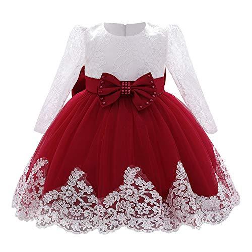 FYMNSI Vestido de niña pequeña o bebé para fiesta de cumpleaños o bautizo, con lazo, flores, encaje, diadema y tutú de tul, para bodas, niña paje, estilo princesa 11# Weinrot 6-12 Meses