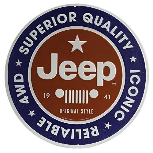 Open Road Brands Jeep Round Embossed Metal Sign
