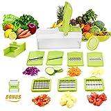 【Tolle Mandoline Slicer Satz 10 in 1】10 Auswechselbare edelstahl in eine Box. würfeln, stifteln, hobeln, reiben, Klein, groß, dünn, dick. Geeignet für fast alle Gemüse und Obst. Sie können schnell und mühelos im Streifen und Klumpen geschneidet werde...