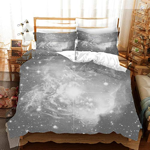 FOssIqU Funda nórdica doble de tres piezas 135x200cm Patrón de cielo estrellado gris Hogar dormitorio infantil niño niña dormitorio patrón de impresión 3d algodón puro transpirable super suave 3 futón