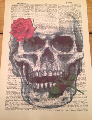 Parksmoonprints Skull Skeleton Vintage Dictionary Print Gothic Wall Art Steampunk Picture Hipster Top Hat Humanised Quirky Gift Rose steampunk buy now online